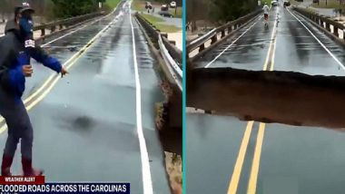 Fox 46 Reporter Narrowly Escapes as Portion of Bridge Falls During Live TV Coverage of Floods in North Carolina (Watch Video)