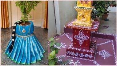 Tulsi Vivah 2020 Pot Decoration Ideas: How to Decorate Tulsi Pot? Easy Traditional Patterns to DIY Plant Holder for Dev Uthani Ekadashi Festival