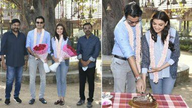 Megastar Chiranjeevi Gives Newlywed Couple Kajal Aggarwal And Gautam Kitchlu A Warm Welcome On Acharya Set (View Pics)