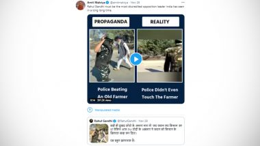 Amit Malviya's Tweet Marked by Twitter as 'Manipulated Media'; BJP IT Cell Head's 'Propaganda Vs Reality' Attack on Rahul Gandhi Backfires