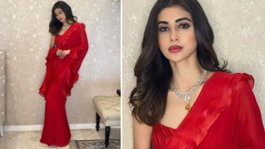 Mouni Roy Sizzles in a Red Hot Saree, Her Ruffled Six-Yard Outing Is a Must Have This Wedding Season! (View Pics)