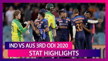 India vs Australia Stat Highlights 3rd ODI 2020: Visitors End Losing Streak With 13-Run Triumph