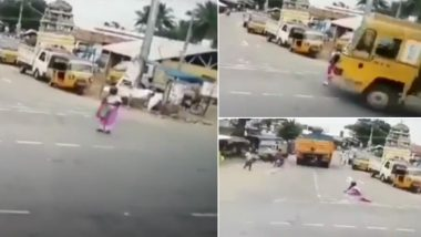 Miracle! Elderly Woman in Tamil Nadu Escapes Unhurt After Being Run Over by Truck (Watch Video)