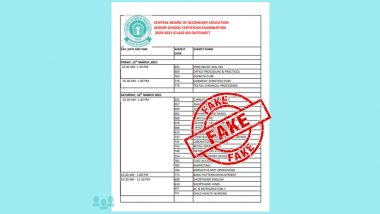 CBSE Exams 2021 Dates and Schedule Not Released, Datesheet of Class 12th Examination Circulating on Social Media is 'Fake': Official Notice