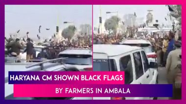 Farmers' Protest: Haryana Chief Minister Manohar Lal Khattar Shown Black Flags By Farmers In Ambala