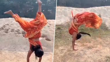 Stunt in a Sari! Mili Sarkar, International Yoga Gold Medalist Does Awesome Somersaults in Saree & You Can't Miss Her Viral Video