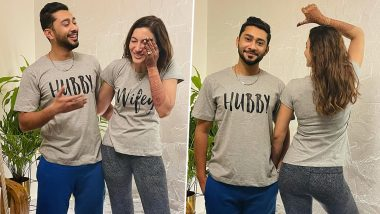 Just Married Gauahar Khan and Zaid Darbar Share Their First Picture Post the Wedding As They Flaunt Their 'Hubby Wifey' Tees (View Pic)