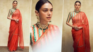 Aditi Rao Hydari Oozes Sublime Elegance in a Raw Mango Saree but Her Striped Blouse Is What We Love the Most!