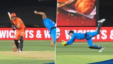 Big Bash League 2020–21: Alex Carey Takes Stunning One-Handed Catch to Dismiss Liam Livingstone During Adelaide Strikers vs Perth Scorchers Clash (Watch Video)