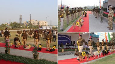 8 Dogs Retire After Serving 10 Years in CISF, Farewell Ceremony Organized to Honour Canines (Pics and Video)