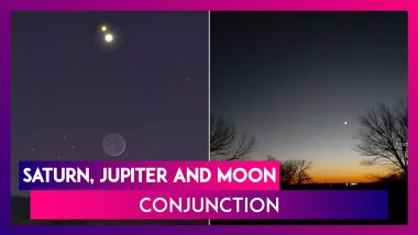 Saturn, Jupiter And Moon Form A Triangle In The Sky; Great Conjunction On December 21