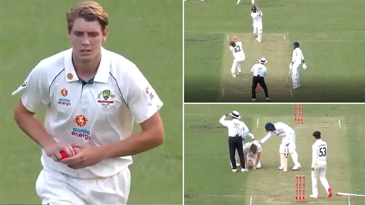 Mohammed Siraj Wins Hearts For Checking On Cameron Green After Youngster Was Hit On The Head During India A Vs Australia A Pink Ball Practice Match Watch Video Latestly