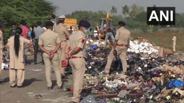 Illegal Liquor Worth Over Rs 2 Crore Destroyed by Gujarat Police in Surat Ahead of New Year's Eve 2020