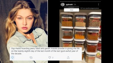 Gigi Hadid Joins 'Post a Pic Of...' Instagram Trend by Sharing Photo Spice Cabinet With Haldi, Tandoori Masala and Shan Masala and It Creates a Spicy Tadka on Social Media, Check Funny Reactions