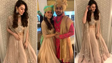 Hansika Motwani Is Baraat Ready in a Champagne Caped Lehenga Sparking Off Those Perfect Bridesmaid Vibes!