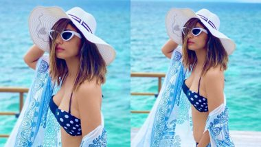 Hina Khan Looks Breathtakingly Beautiful in Her Polka Dot Bikini Paired With A Breezy Shrug!