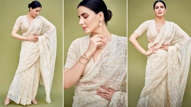 Kirti Kulhari Oozes Six Yards of Brilliance in White for Criminal Justice Promotions!