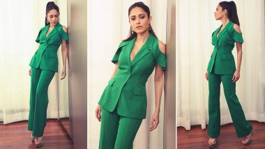 A Look at Nushrratt Bharuccha's Glorious Green Contemporary Pantsuit Moment!