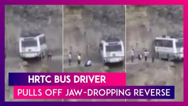HRTC Bus Driver Pulls Off Jaw-Dropping Reverse; Performs Incredible U-Turn On A Narrow Mountain Road; Watch