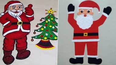 Christmas 2020 Rangoli Designs for Office Decorations: Easy Santa Claus Drawing Rangoli Patterns and X'Mas Tree HD Images to Add the Festive Fervour at Your Workplace (Watch Videos)