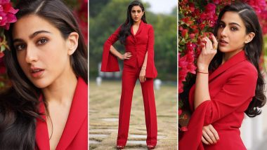 Sara Ali Khan Suits Up and Whips Up a Radiant Red Vibe for Coolie No.1 Promotions!