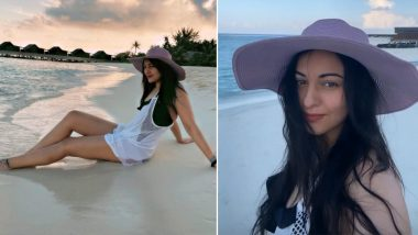 Sonakshi Sinha Uber Hot Beach Glam Is All About A Monochrome Chicness And A Lavender Straw Hat!