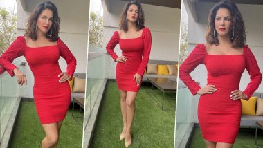 Sunny Leone Looks Radiant in Gorgeous Red Outfit, in Search for 'Mistletoe and a Hottie' During Holiday Season (View Pics)
