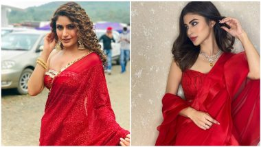 Fashion Faceoff! Surbhi Chandna or Mouni Roy, Who Nailed the Chic Red Saree Look? (View HD Pics)