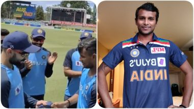 T Natarajan Makes India Debut, Virat Kohli Hands Pacer ODI Cap At the Start of IND vs AUS 3rd ODI 2020 in Canberra; Shashi Tharoor and Others React (Watch Video)