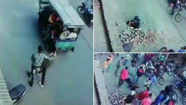 Rajasthan: Under-Construction Pillar Collapses on Man Walking on Road in Bharatpur Market Area, Watch Video