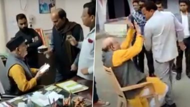 Maya Shankar Pathak, Former BJP MLA, Thrashed By Family Members in College Premises for Sexually Assaulting Girl Student in Varanasi; (Watch Video)