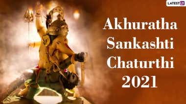Akhuratha Sankashti Chaturthi 2021 Wishes and WhatsApp Stickers: Devotional Messages, Lord Ganesha HD Images, Facebook Greetings and SMSes for Family and Friends