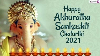 Akhuratha Sankashti Chaturthi 2021 Wishes, Greetings & HD Images: Share WhatsApp Stickers, Quotes & Facebook Status Pics of Lord Ganesha On The Auspicious Day