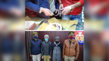Uttar Pradesh: Two Men Cut Cake With Pistol in Hapur, Arrested After Video Goes Viral