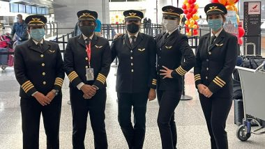 Capt Zoya Aggarwal, Capt Papagari Thanmai , Capt Akansha Sonawar, CaptShivani Manhas FuelAir India's AI176, World's Longest Flight, with Women Power