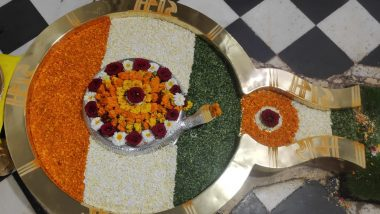 On Republic Day 2021, 'Shivalinga' at Rishikesh's Chandreshwar Mahadev Temple Is Beautifully Decorated in Tricolour With Flower Petals and Leaves (See Pic)