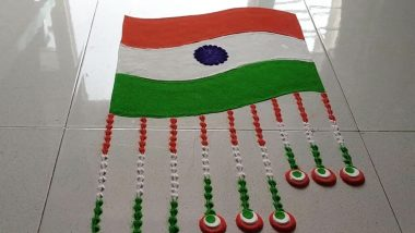 Republic Day 2021 Simple Rangoli Designs & Tricolour Muggulu Patterns For Gantantra Diwas