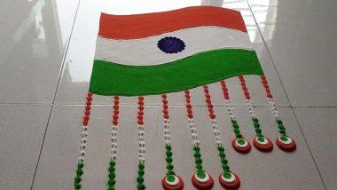 Republic Day 2021 Easy Rangoli Ideas: Latest Muggulu Patterns, Tricolour-Inspired Designs and Stunning Kolams for 72nd Gantantra Diwas Celebration (Watch Video Tutorials)