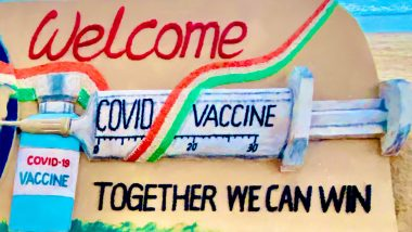 India's COVID-19 Vaccine Drive in Pics and Videos: Sudarsan Pattnaik's Sand Art and Congratulatory Posts on Twitter Evoke Hope for Better Days