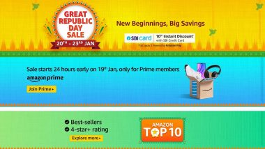 Amazon Great Republic Day Sale to Begin on January 20, 2021; Up to 40% Off on Smartphones, Up to 60% Discount on Electronics & Accessories