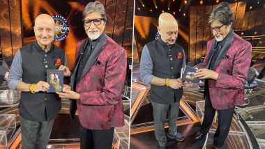 Kaun Banega Crorepati 12: Anupam Kher Gifts His Latest Book to Amitabh Bachchan on Sony TV's Quiz Show (See Pics)