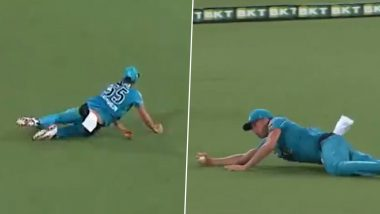 Ben Laughlin Takes Incredible One-Handed Diving Catch to Dismiss Michael Nesar During Brisbane Heat vs Adelaide Strikers Eliminator Clash in BBL 2020–21 (Watch Video)