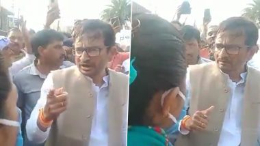 Congress MLA Harsh Vijay Gehlot Threatens Lady Government Officer During Party's Protest Against Farm Laws in Madhya Pradesh's Ratlam (Watch Video)
