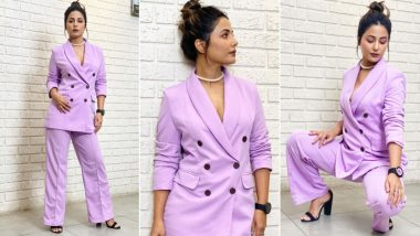 Hina Khan Poses Like a Boss Lady in a Lilac Pantsuit That Costs Rs 3800 (View Pics)