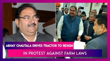 Abhay Chautala Drives Tractor To Resign From Haryana Assembly In Protest Against Farm Laws