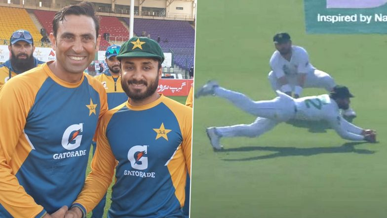 Imran Butt Takes Sensational Diving Catch On Debut To Remove Aiden Markram During PAK vs SA 1st Test at Karachi (Watch Video)