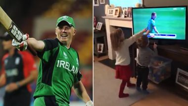 Kevin O'Brien Overwhelmed by His Childrens' Priceless Reaction After Spotting Him on TV During AFG vs IRE Live Match (Watch Video)