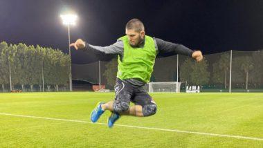 Khabib Nurmagomedov Displays His Football Skills While Playing Alongside AC Milan Legend Clarence Seedorf (Watch Video)