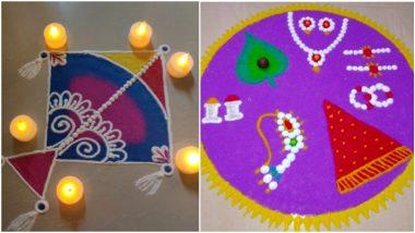 Rangoli Design for Makar Sankranti 2021: Easy Mugullu Patterns, NewColourful Kites and Haldi Kumkum Designs to Traditionally Adorn Your Home This Sankranthi