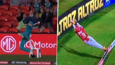 Max Bryant's Sensational Save in BBL 2020–21 Reminds Fans of Nicholas Pooran's Gravity-Defying Effort in IPL 2020 (Watch Video)